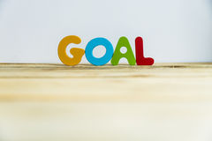Colorful wooden word Goal with white background5 Royalty Free Stock Image