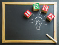 Colorful wooden word Idea with lamp drawing on Blackboard3 Royalty Free Stock Images