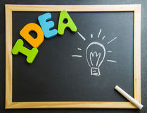 Colorful wooden word Idea with lamp drawing on Blackboard Stock Photos
