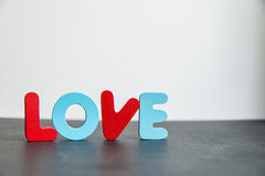Colorful Wooden word love with white background1 Royalty Free Stock Photography