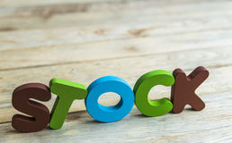 Colorful wooden word Stock on wooden floor8 Stock Image