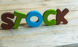 Colorful wooden word Stock on wooden floor2 Stock Images