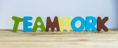Colorful wooden word Teamwork with white background3 Royalty Free Stock Image