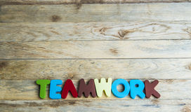 Colorful wooden word Teamwork on wooden floor1 Stock Image