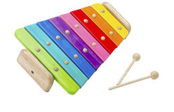 Colorful wooden xylophone Stock Images