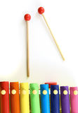 Colorful, Wooden Xylophone with Mallet. Over White Background Stock Photos