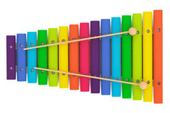 Colorful wooden xylophone with mallets Royalty Free Stock Images