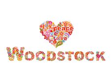 Colorful Woodstock flowers lettering and hippie heart shape for t shirt print, party poster and other design on white background. Colorful Woodstock flowers vector illustration