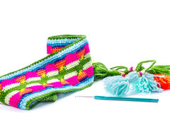 Colorful wool belt. On white background Royalty Free Stock Photo