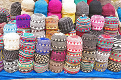 Colorful wool caps in the market in Morocco Africa Royalty Free Stock Images