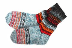 Colorful wool knitted socks Stock Images