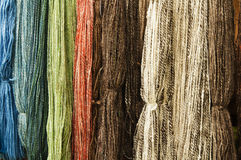 Colorful wool thread background Stock Photo