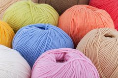 Colorful wool yarn balls. Background Royalty Free Stock Image