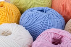 Colorful wool yarn balls. Background Stock Photography