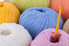 Colorful wool yarn balls. Background Stock Photos