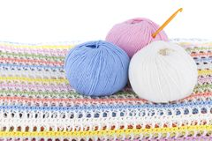 Colorful wool yarn balls on the knitted plaid isolated on white background. Horizontal Royalty Free Stock Photo