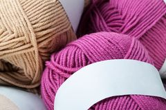 Colorful wool yarn balls Stock Photos