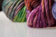 Colorful wool yarn balls Stock Images