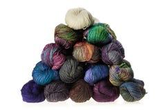 Colorful wool yarn balls Stock Photos