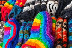 Colorful woolen socks lay on counter Stock Image