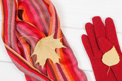 Woolen womanly gloves and shawl on white boards, clothing for autumn or winter. Colorful woolen womanly shawl and gloves on white boards, warm clothing for Royalty Free Stock Images