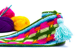Colorful wools. And belt  on white backbround Stock Photo