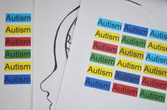 Colorful word AUTISM. Written on paper Royalty Free Stock Photo