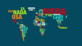 Colorful word cloud of world map in 4k resolution stock video