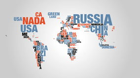Colorful word cloud of world map in 4k resolution. Animation is generated in After Effects stock footage