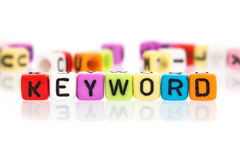 Colorful word cube of  keyword Stock Photo