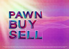 The Colorful word Pawn Buy Sell Vector illustration. Royalty Free Stock Photos