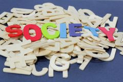Word society. View from side. Royalty Free Stock Photo