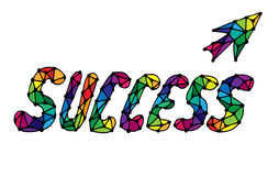 Colorful word success  on a white background with arrow. Isolated success text Royalty Free Stock Photo