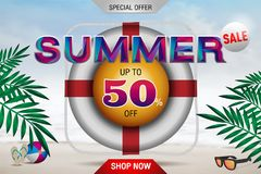 The Colorful word Summer Sale 50% banner design template Vector. Illustration Stock Images