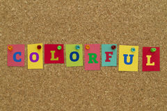 Colorful word written on colorful sticky notes. Royalty Free Stock Image