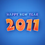 Colorful words of happy new year 2011. On blue background Stock Photos