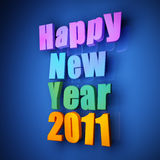 Colorful words of happy new year 2011. On blue background Royalty Free Stock Photo
