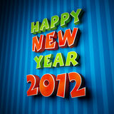 Colorful words of happy new year 2012. Happy New Year 2012 greeting card vector illustration