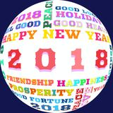 Colorful words of happy new year 2018 on background. Happy New Year 2018 as background,time for celebrate.....Colorful letters to word cloud as a sybol to new vector illustration