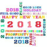 Colorful words of happy new year 2018 on background. Happy New Year 2018 as background,time for celebrate.....Colorful letters to word cloud as a sybol to new royalty free illustration