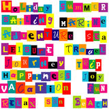 Colorful  words  relate with summer and holiday. On white background Stock Photo