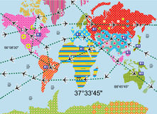 Colorful world. Stylized color map of the world with the image of flight royalty free illustration
