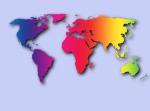 Colorful World. 3D look countries of the world Stock Illustration