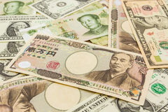 Colorful of  World banknotes background Stock Photo