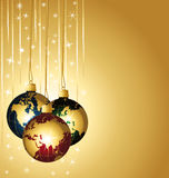 Colorful world christmas balls. Stock Image