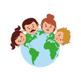 Colorful world with family faces Stock Images