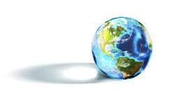 Colorful world globe casting a shadow on white Stock Photo