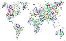 Colorful world map. Illustration of world map formed from different colored circles, white background Royalty Free Stock Photo