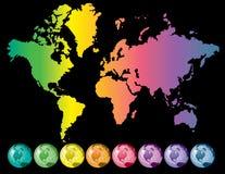 Colorful world map royalty free illustration