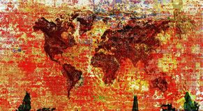 Colorful world map. Abstract colorful world map image stock image